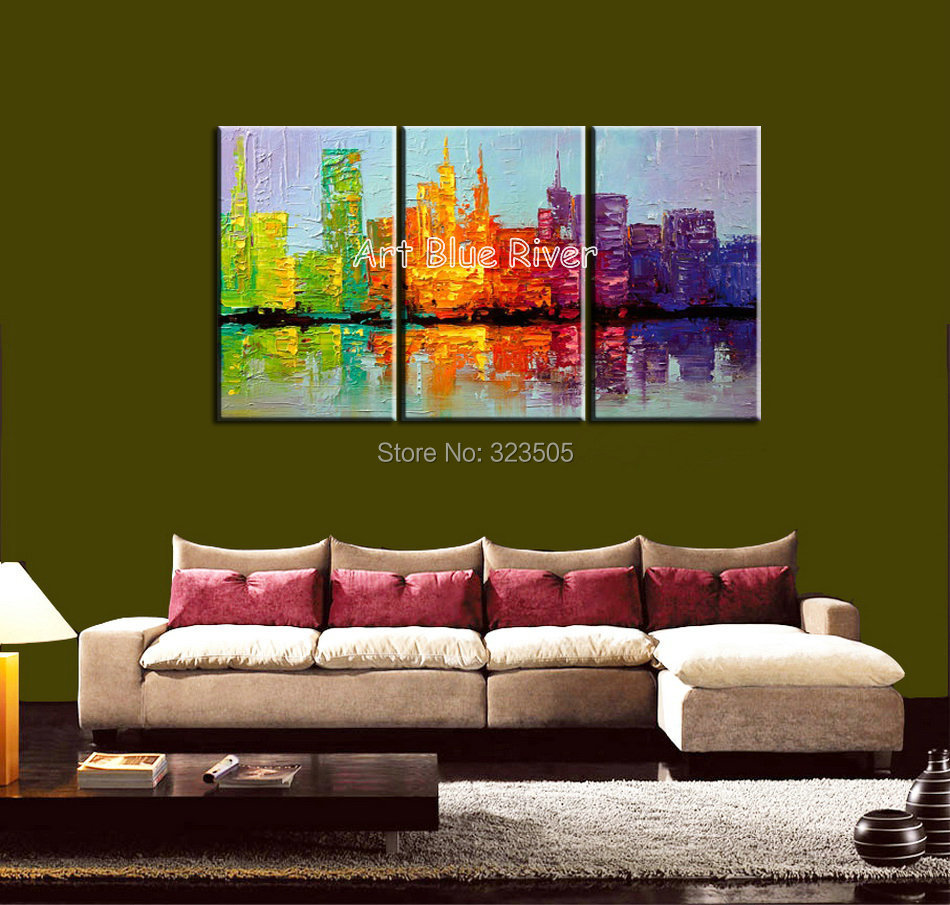 3 piece beautiful abstract handmade canvas art New York city font b knife b font oil