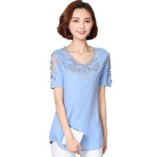 Fashion Women Blouses 2017 Shirts Summer Tops short sleeve shirt women Linen Lace Blouse lace top 4XL Big size S4032