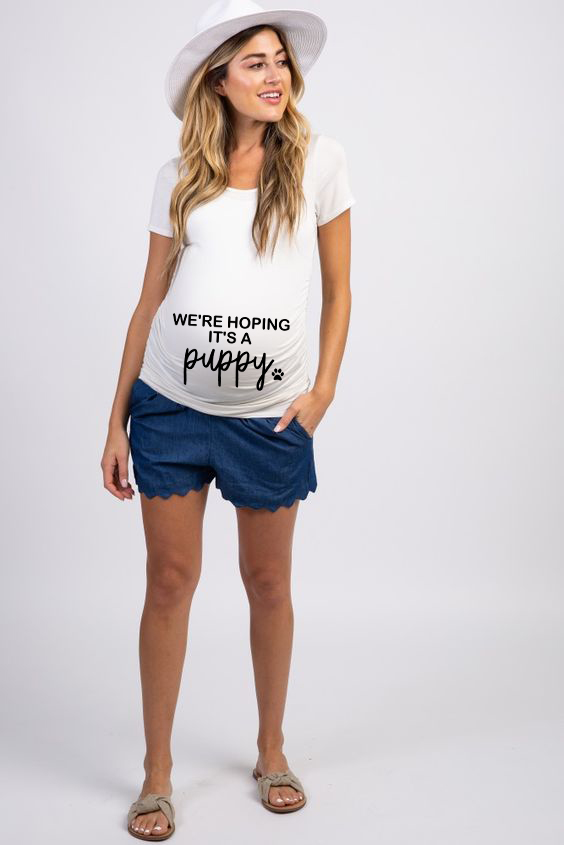 We're Hoping It's A Puppy Maternity T-shirt Maternity Clothing Funny Letters Pregnant Clothes Pregnancy Women Summer Tops Tee