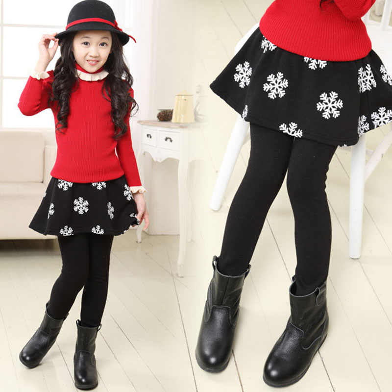 Girls Skirt Leggings Children Velvet Warm Pants Gilrs Leggings Snow Flower Skirt-Pants Kids Leggin Winter Clothes Trousers