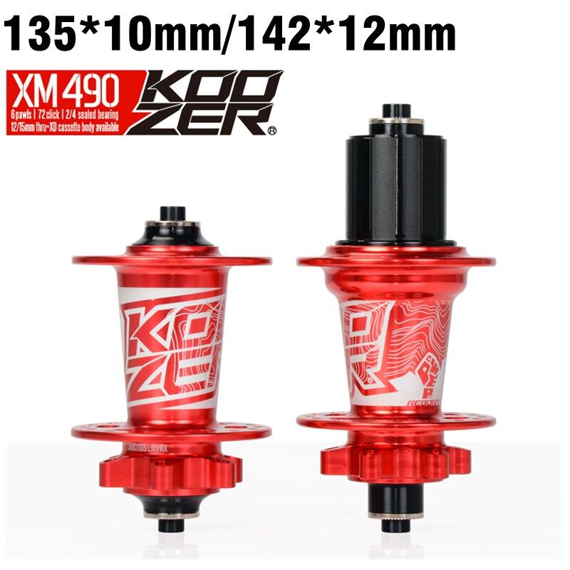Koozer XM490 MTB Mountain Bike Hub 4 Sealed Bearing Hubs Rear 10*135mm QR 100*15 12*142mm Thru 32 Holes Disc Brake Bicycle Hub