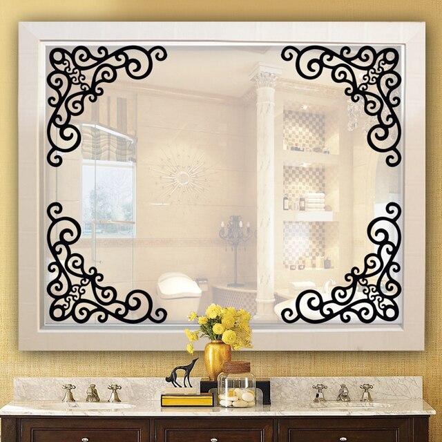 60x37cm Flowers Vine Art Corner Stickers Mirror Cabinet Decoration Wall Sticker DIY Bathroom Decals