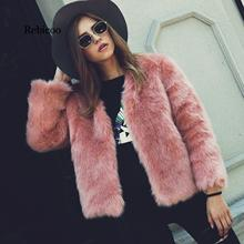 2019 warm fox artificial fur elegant coat female autumn and winter chic fluffy fake furry
