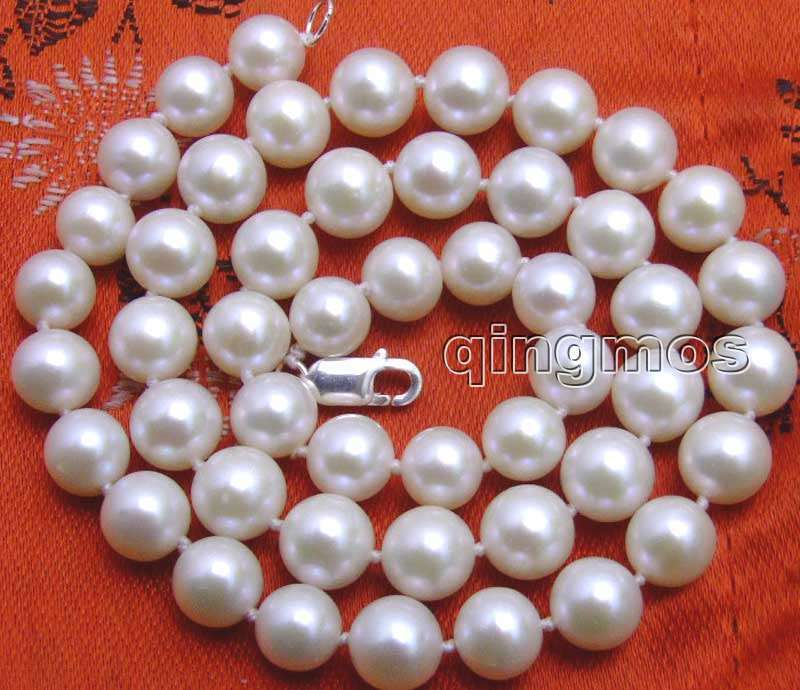 """SALE Big 8-8.5mm White High Quality AA+ Perfect Round Natural Freshwater PEARL 17"""" Necklace -5843 Wholesale/retail Free shipping"""