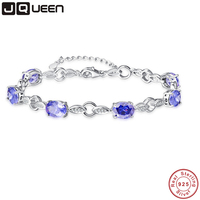 JQUEEN Created Tanzanite Leaf Silver Chain Bridal Bracelets for Women Wholesale Wedding Jewelry 925 Bracelets Fashion Accessory