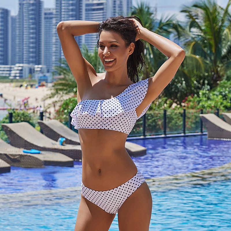 Jedno ramię Bikini Tanga 2020 dwuczęściowy oddzielny strój kąpielowy strój kąpielowy kobiety nadruk w kropki marszczony strój Bikini Bandeau kostium kąpielowy