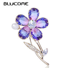 Blucome Elegant Plant Flower Shape Brooch Imitation Pearl Zircon Copper Jewelry Women Girls Coat Dress Sweater Scarf Accessories(China)
