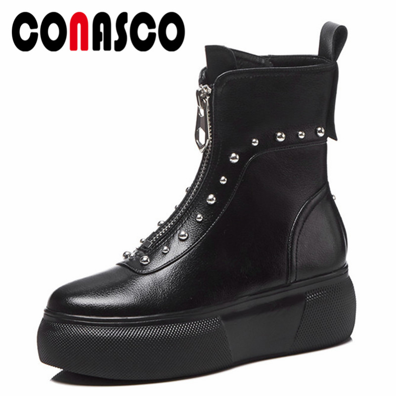 CONASCO Punk Women Ankle Boots Genuine Leather Rivets Night Club Party Shoes Woman High Platforms Casual Shoes Basic Boots soldered dso138 2 4 tft handheld pocket size digital oscilloscope kit smd soldered acrylic diy case cover shell for dso138