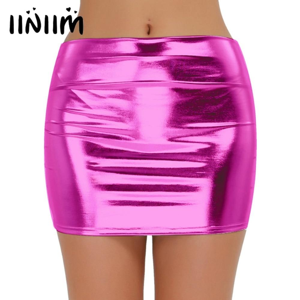 Iiniim Sexy Women Night Clubwear Shiny Snug-fitting Patent Leather Wetlook Mini Skirt Cocktail Costumes Performance Skirts