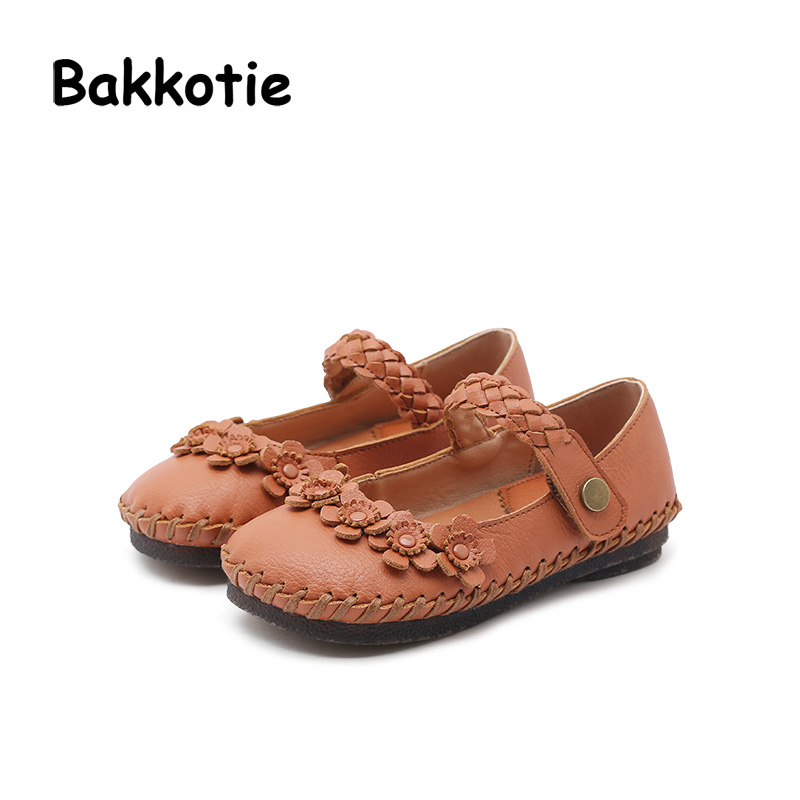 Bakkotie 2018 Spring New Fashion Baby Girl Pu Leather Flower Weave Child Casual Princess Shoe Flat kid Brand Sweet Mary Jane