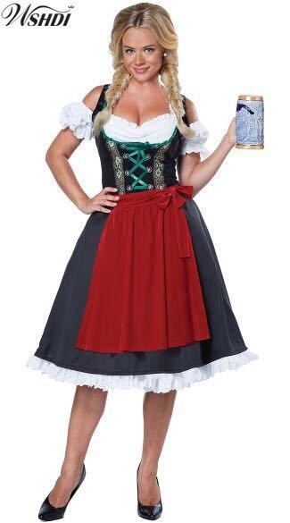 S-XXL NEW! German Bavarian Beer Festival Girl Costume Women Oktoberfest Wench Costume Halloween Carnival Cosplay Fancy Dress