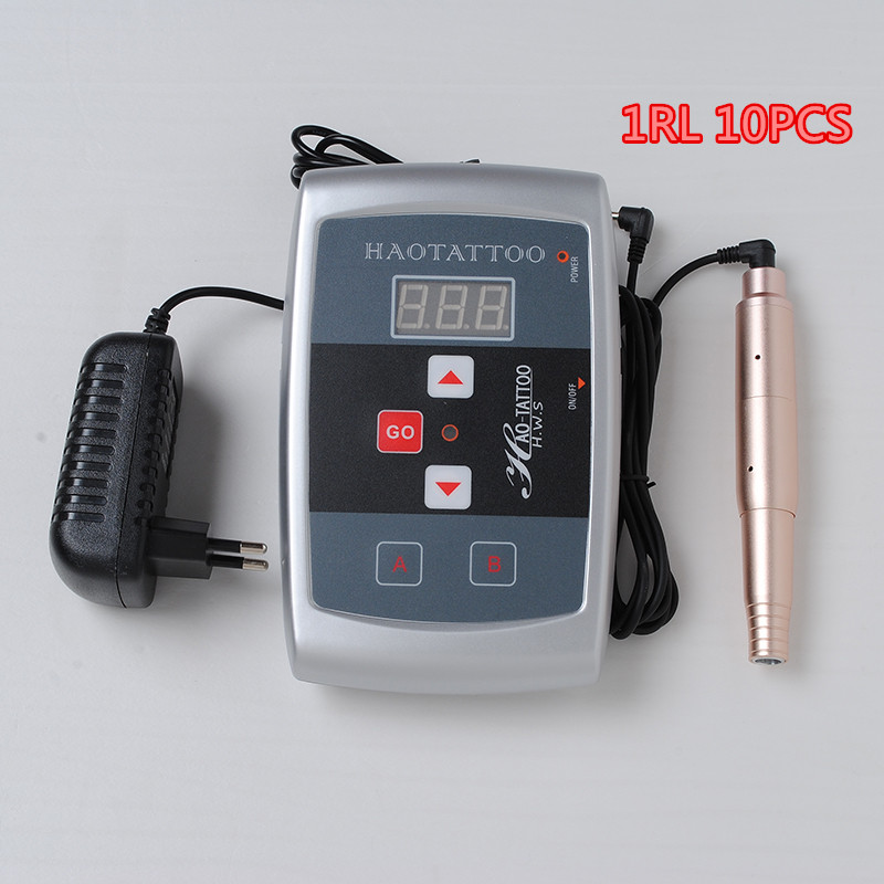 Tattoo eyebrow permanent makeup pen light Manual tattoo machine power supply kit with 10pcs 1RL needles free professional permanent makeup tattoo eyebrow pen machine 50 needles tips power supply set us plug drop shipping wholesale