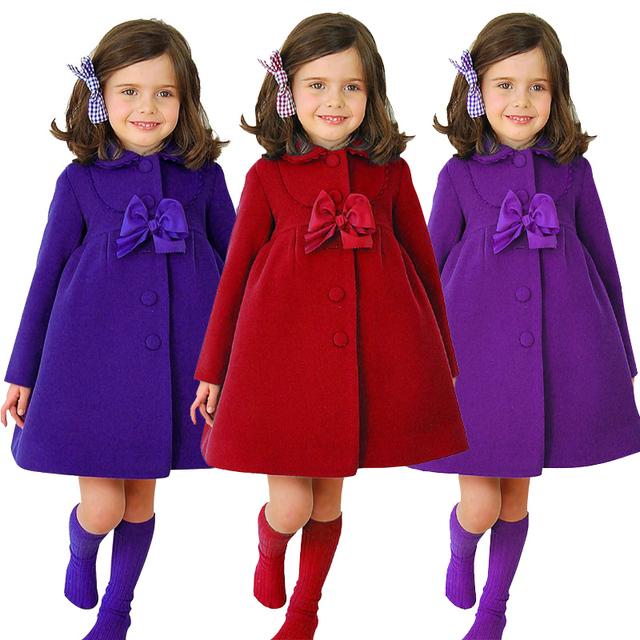 Moda Outono Bebê crianças Casaco jaqueta de Inverno Longo Casaco de bebê menina Quente Outerwear Casacos de cashmere casaco outerwear 3 Cores