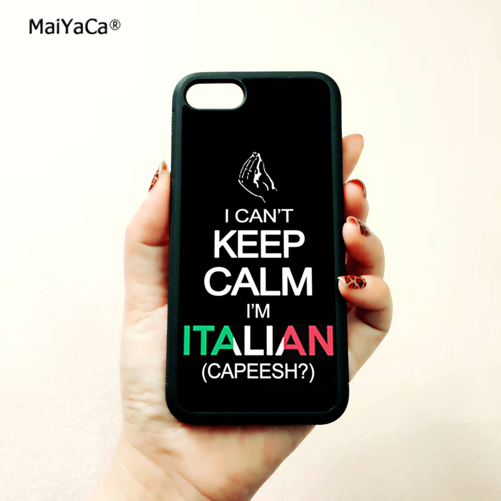 i can 39 t keep calm i am italian soft edge cellphone cases for apple iPhone x 5s SE 6 6s plus 7 7plus 8 8plus XR XS MAX case in Half wrapped Cases from Cellphones amp Telecommunications