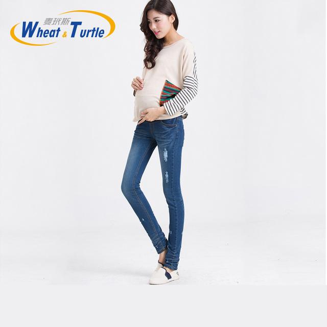 Maternidade Holes Afligido Azul Magro Calça Jeans Lápis Jeans Skinny de Algodão de Boa Qualidade Para As Mulheres Grávidas 2016 Novo Designer Chegada