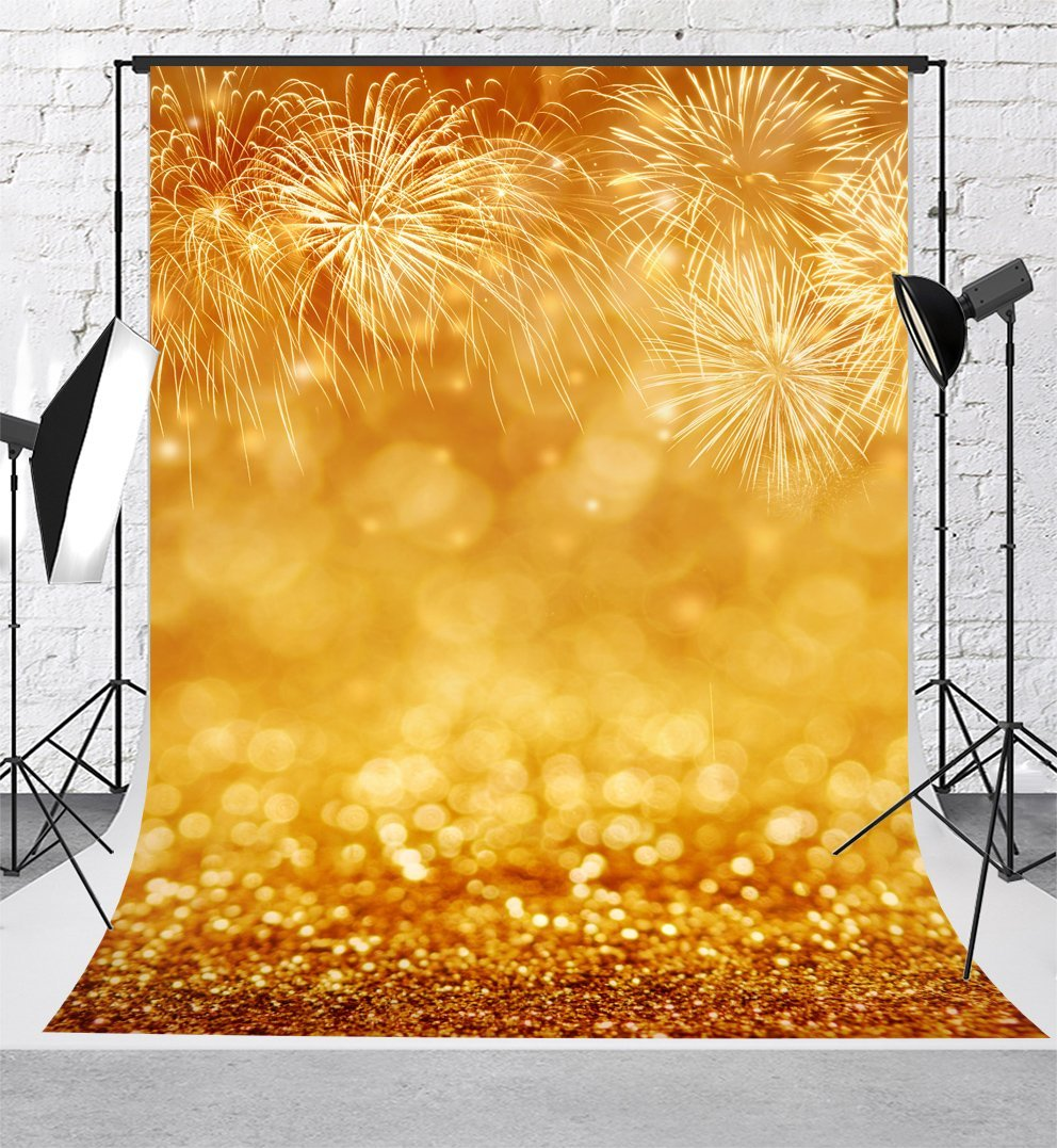 golden fireworks sparkly glitter bokeh happy new year backgrounds vinyl cloth high quality computer print wall backdrops in background from consumer