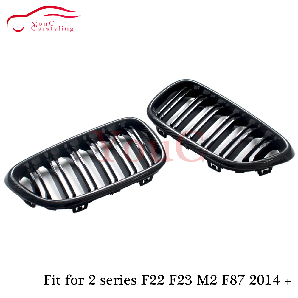 F22 Carbon Fiber Front Bumper Grille Replacement Kidney Grill for BMW 2 series F22 F23 F87 M2 220i 228i M235i M240i 2014 in Racing Grills from Automobiles Motorcycles