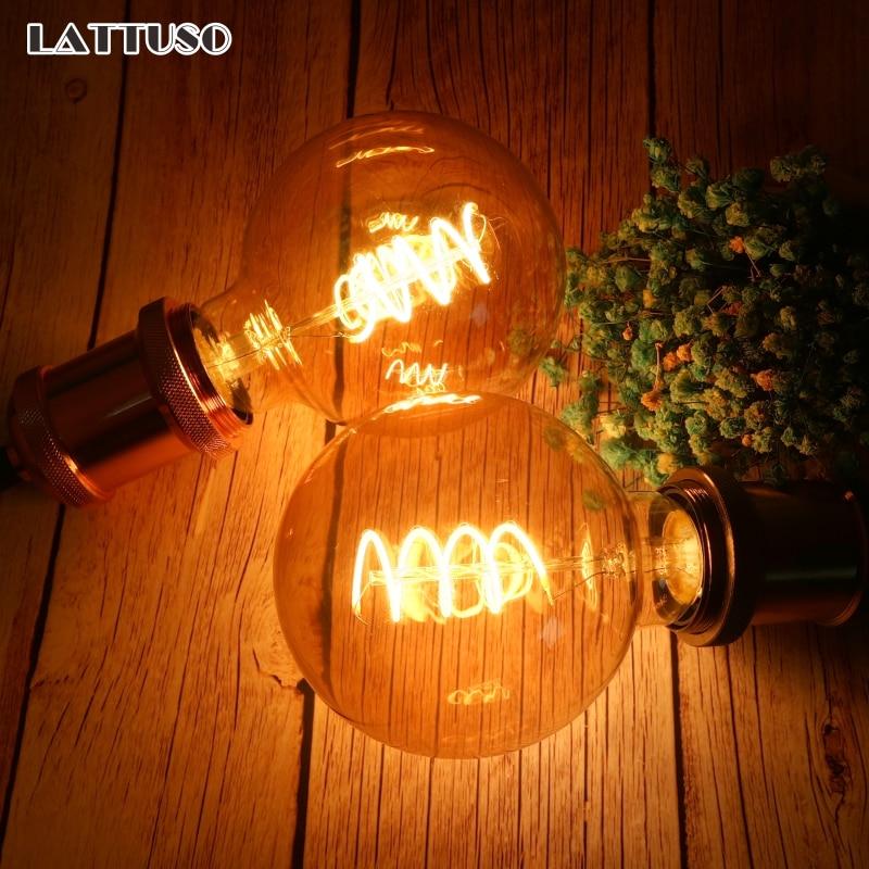 LATTUSO Retro Edison bombilla E27 220V 4W espiral suave LED filamento bombilla G80 G95 G125 ampolla lámpara Vintage Novedad bombilla LED Bombillas E27 220V 4,5 W 8W 220V ampollas de calidad superior lámpara LED E27