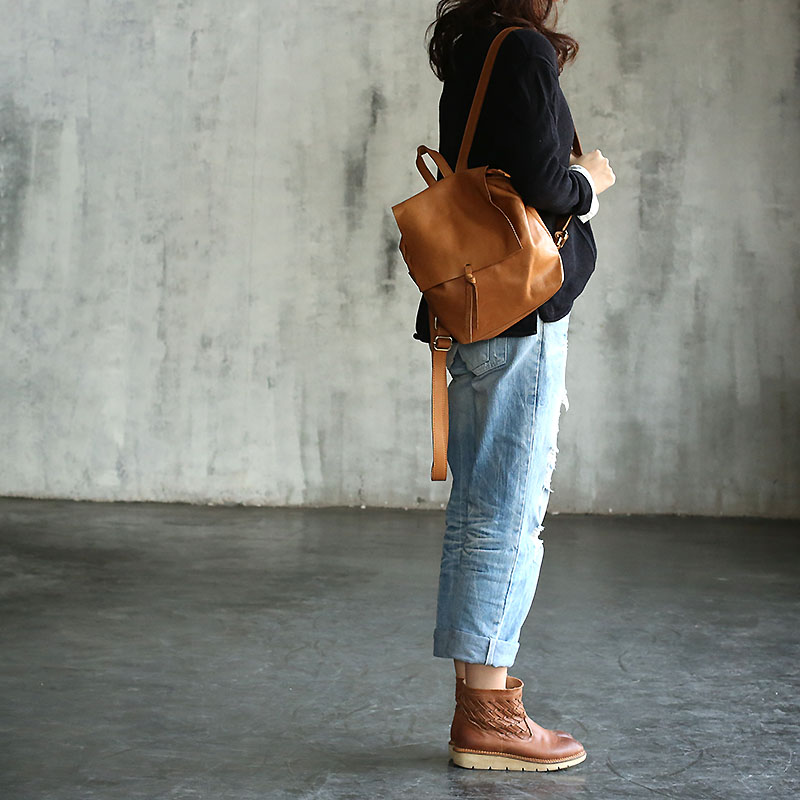 Vendange new fashion preppy style vintage handmade casual travel soft cowskin genuine leather backpack 2199SVendange new fashion preppy style vintage handmade casual travel soft cowskin genuine leather backpack 2199S