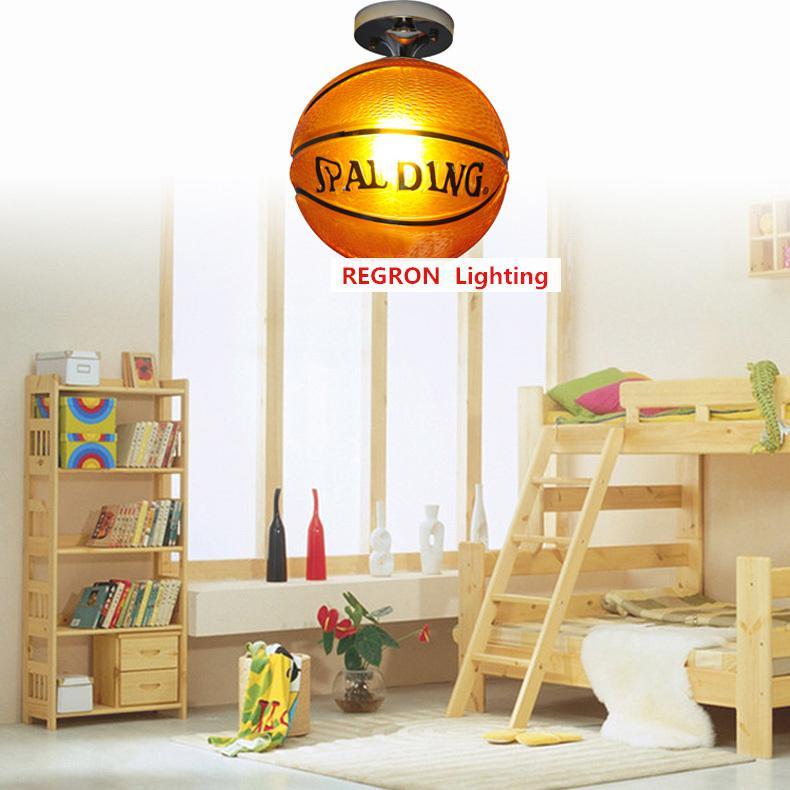 Regron éclairage de plafond ludique marron basket verre plafonniers luminaires suspendus modernes chambre d'enfants chambre d'enfant porche - 3