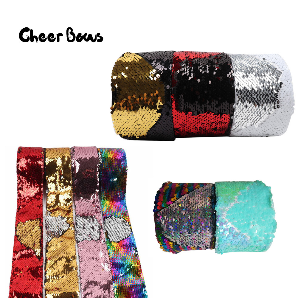 Wholesale 50Y 100Y 75mm Sequin Ribbon Two Color Reversible Ribbon Laser Sequin DIY HairBows Party Clothes
