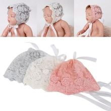 Yundfly Newborn Cotton Blend Hat Caps Spring Summer Kids Photography Props Children Lace Flower Turban
