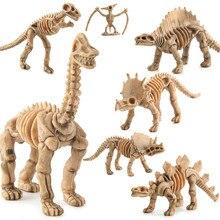 6 шт./партия ископаемый скелет динозавра комплект животных моделирования модель игрушки Мир Юрского периода фигурки Развивающие игрушки для детей