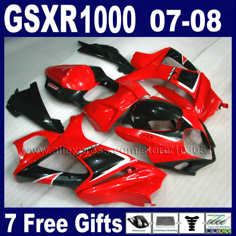 Custom Factory motorcycle fairings set for SUZUKI K7 GSXR 1000 2007 GSXR 1000 2008 GSXR1000 08 07 red black body fairing parts aftermarket free shipping motorcycle parts eliminator tidy tail for 2006 2007 2008 fz6 fazer 2007 2008b lack