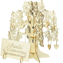 Party Guest Sign Book, Wooden 3D Wedding Wishing Tree Set Attendance Cards Famail Graduation Birthday Decoration