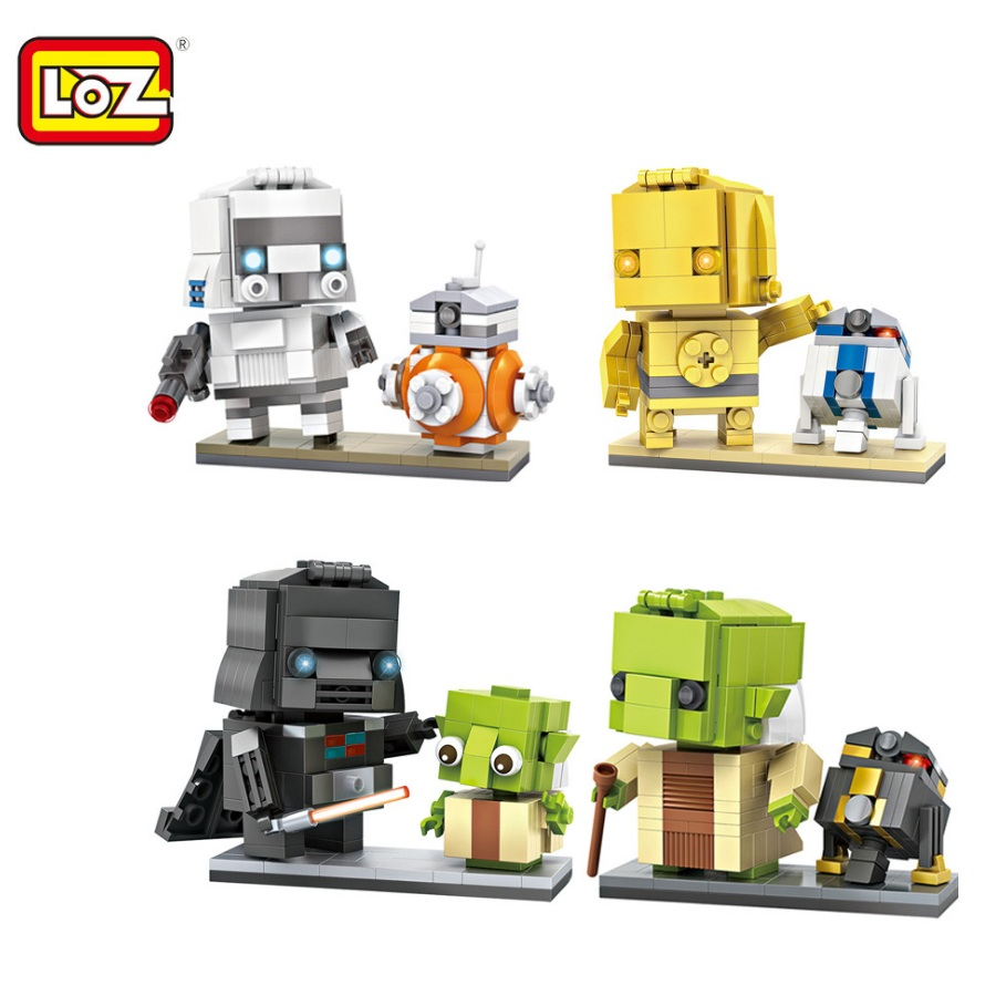 LOZ Mini Blocks Star wa Yoda Small size DIY Building Toys R2 d2 Auction Model Toys Juguetes Boy Gifts Kids Toy 1501-1504 loz super mario kids pencil case building blocks building bricks toys school utensil brinquedos juguetes menino jouet enfant