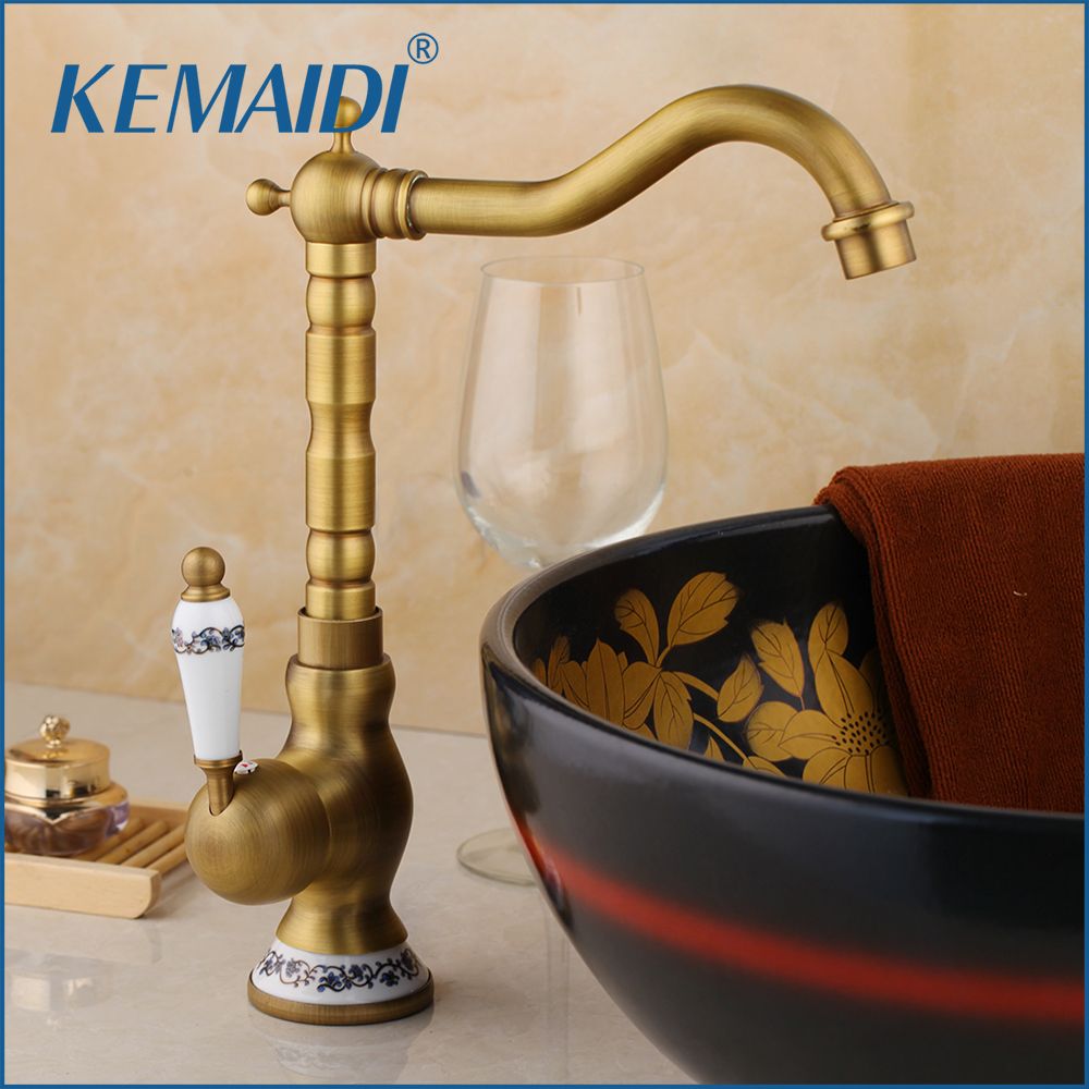 KEMAIDI Antique Brass Faucet Stream Spout Tap Bathroom Basin Sink Faucet Solid Brass Hot & Cold Water Mixer Vanity SinkKEMAIDI Antique Brass Faucet Stream Spout Tap Bathroom Basin Sink Faucet Solid Brass Hot & Cold Water Mixer Vanity Sink