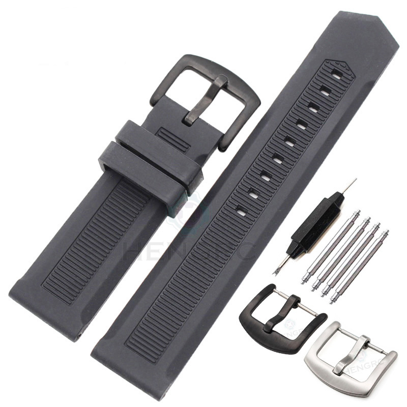 New Silicone Watch Band Strap 22mm Men Black Sport Diving Rubber Watchbands Stainless Steel Siver Black Pin Buckle Accessories watchbands 18mm 20mm 22mm rubber watch strap high qualit men sports silicone band for casio watch accessories