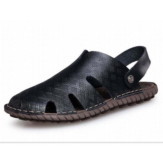 Men Sandals Genuine Leather Cowhide Beach Sandals Casual Mens summer breathable Sandal Man Vintage Handmade Closed Toe Slippers