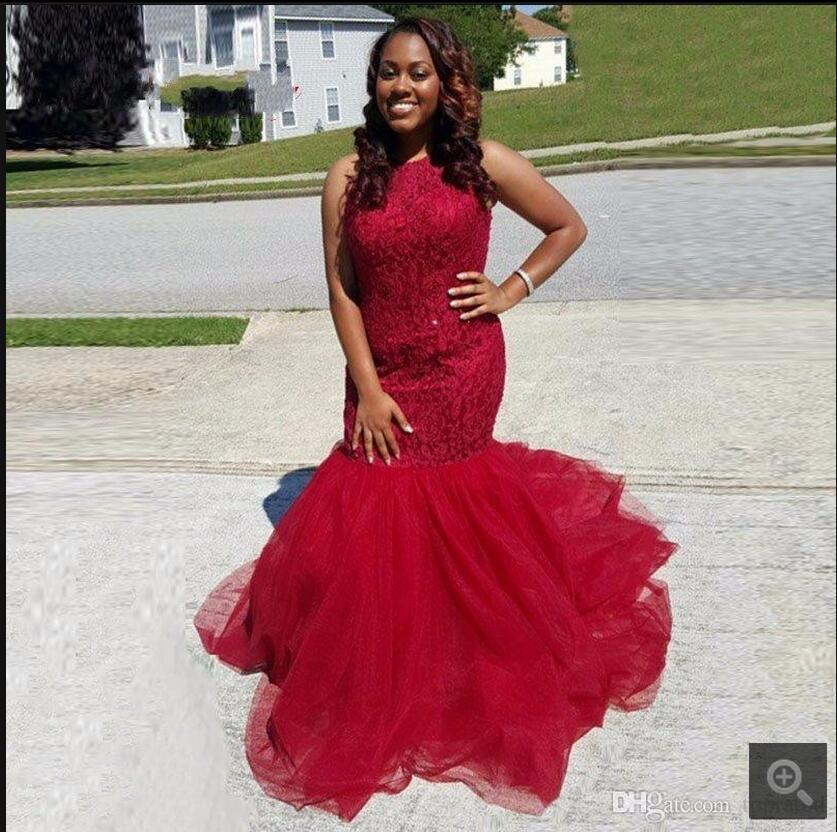 Hot sale Sexy Mermaid   Prom     Dresses   2017 plus size Red Lace Tulle Sleeveless   prom     dress   formal gowns Robe De Soiree