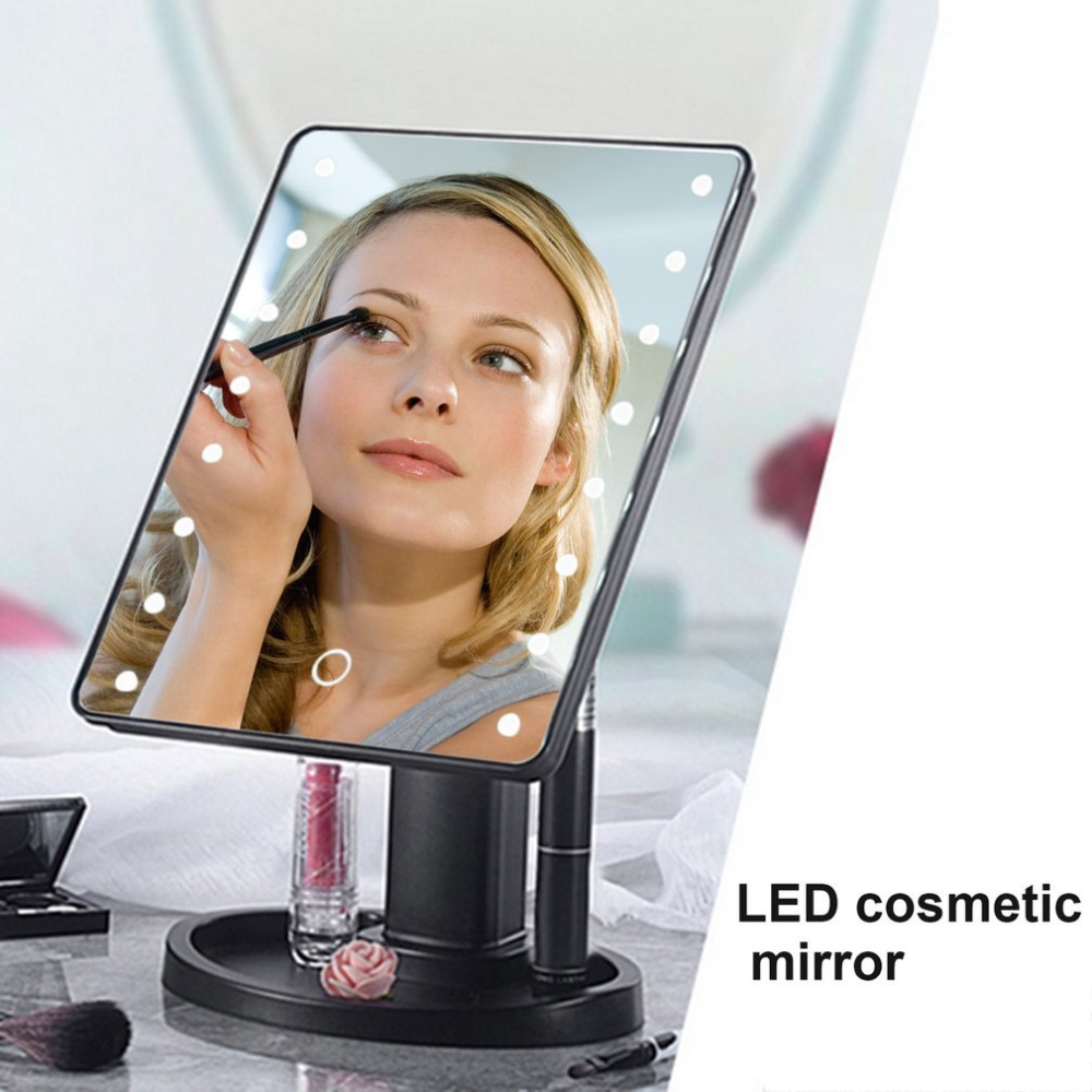 22 LED Portable Women Facial Makeup Mirror 360 Degree Rotation Touch Induction Tabletop Cosmetic Make up Mirror Tool Hot Sale