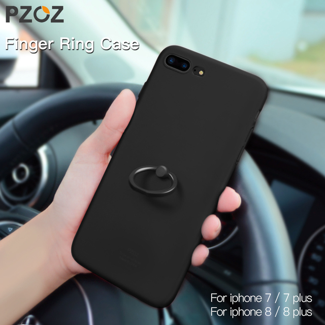 Pzoz For Iphone 7 Phone Ring Holder Case Silicone Cover Original For