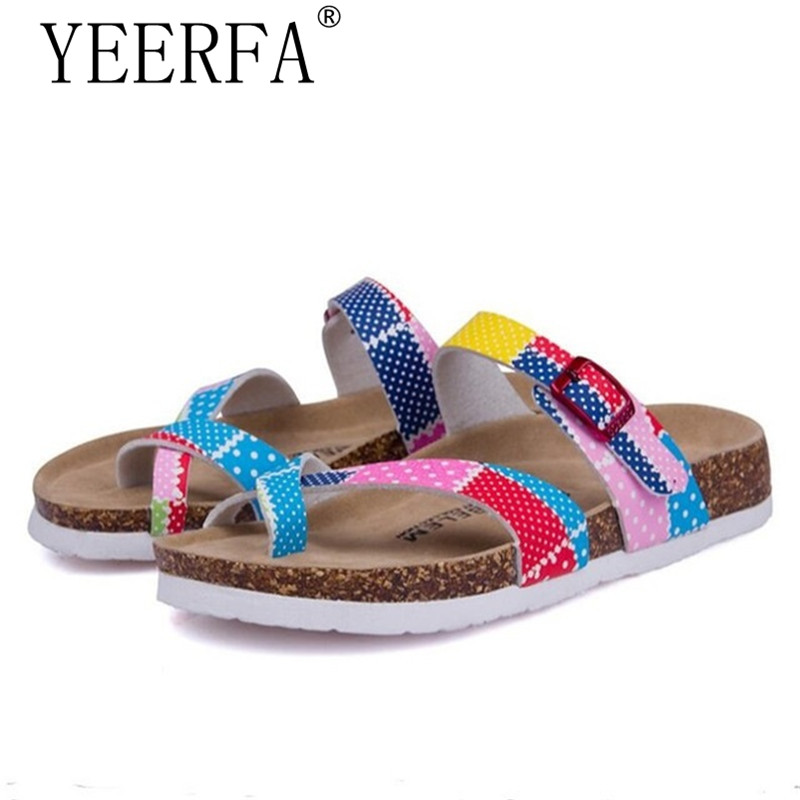 YIERFA Fashion New Summer Cork Sandals Casual Women Mixed Color Flip Flops Valentine Shoes Zapatos Mujer Sandalias Size 35-45 siketu 2017 new summer beach slipper flip flops sandals women mixed color casual sandals shoes flat free shipping plus size
