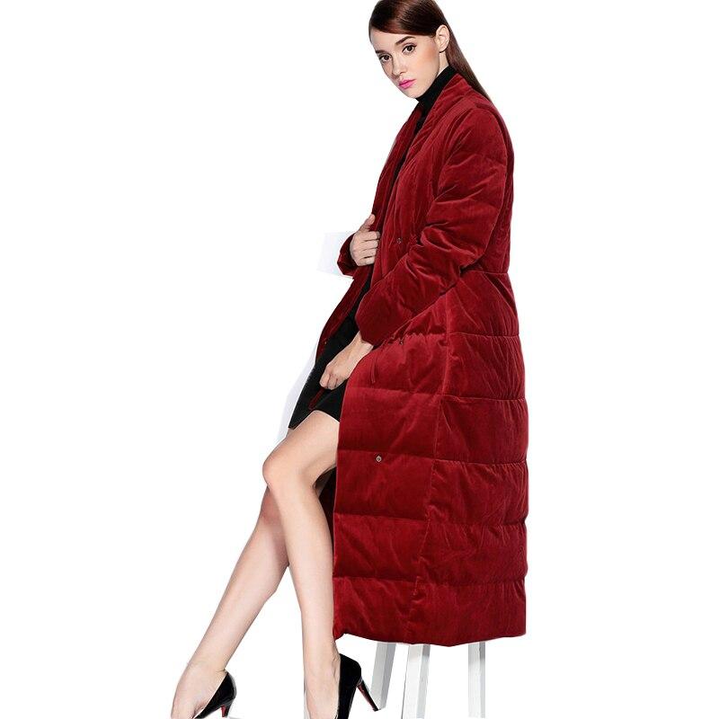 Haute Qualité Femmes épais Vers Le Bas rembourré veste manteau Marque 2018 d'hiver Vers Le Bas manteau de Velours tissu Parka Style Européen occasionnels outwear