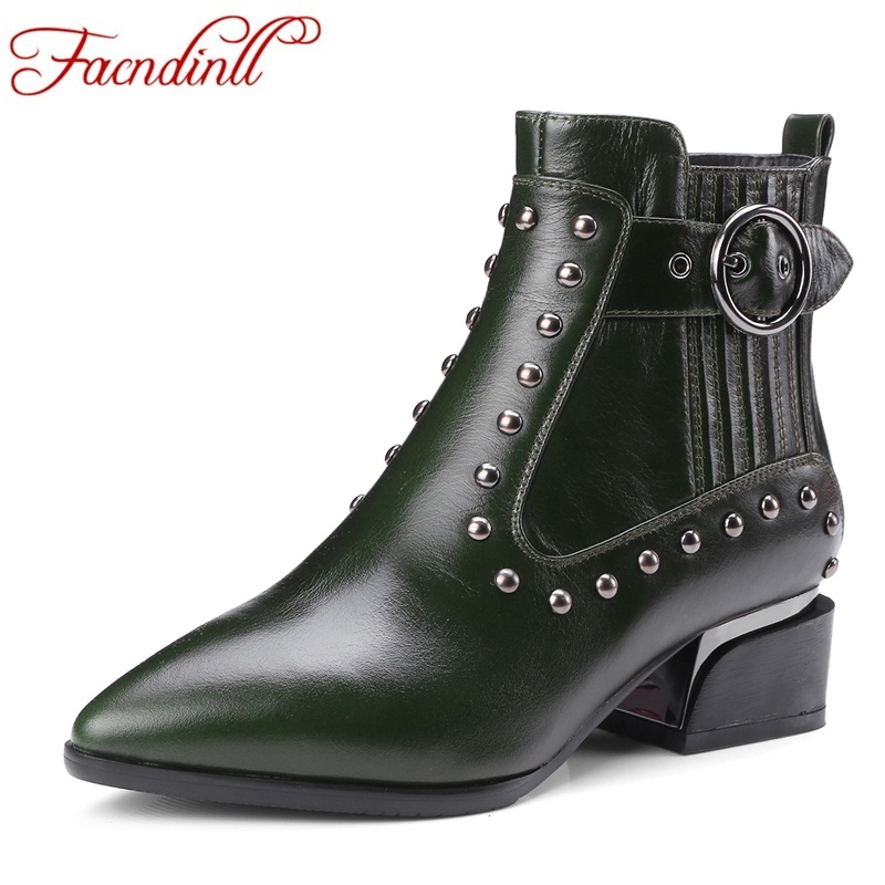 FACNDINLL genuine cow leather women ankle boots shoes fashion med heels pointed toe shoes woman autumn winter riding boots shoes facndinll women genuine leather ankle boots black red fur leather high heels pointed toe shoes woman autumn winetr riding boots