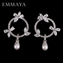 Rongyawei 2017 New High Quality Simulated Pearl With Tiny AAA CZ Cubic Zirconia Flower Earrings Christmas Gift Jewelry