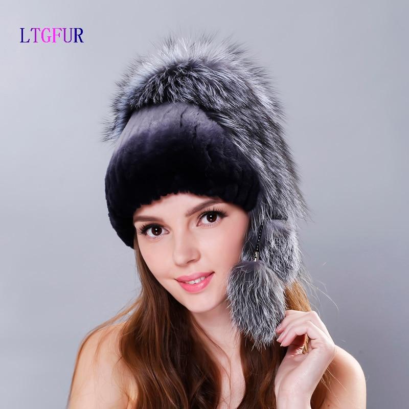 LTGFUR Winter woman rex rabbit fur hat with whole fox fur top2017 new knit fur hats