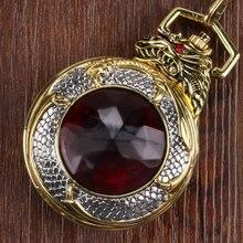 2016 de Lujo de Plata Del Dragón Con Fucsia Granate Reloj de Bolsillo Elegante Reloj de Bolsillo Con Cadena de Oro Envío Gratis de Regalo de Navidad