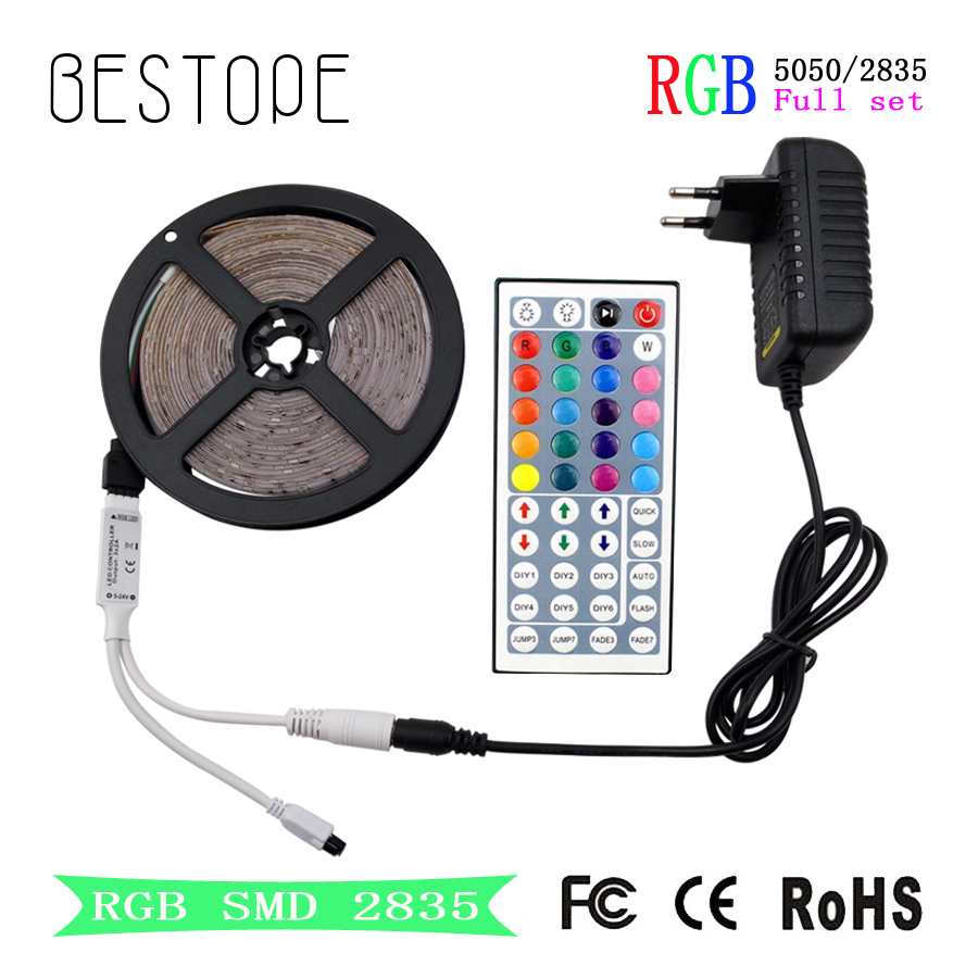 RGB LED Strip SMD 2835 LED Light DC 12V 5050 Strip 5M 10M Vattentät Flexibelt RGB Neon Tape + Controller För Hem Belysning