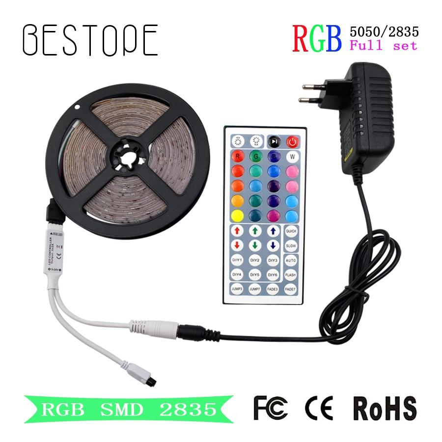 RGB LED Strip  SMD 2835 LED Light DC 12V 5050 Strip 5M 10M Waterproof Flexible Ribbon RGB Neon Tape+Controller For Home Lighting