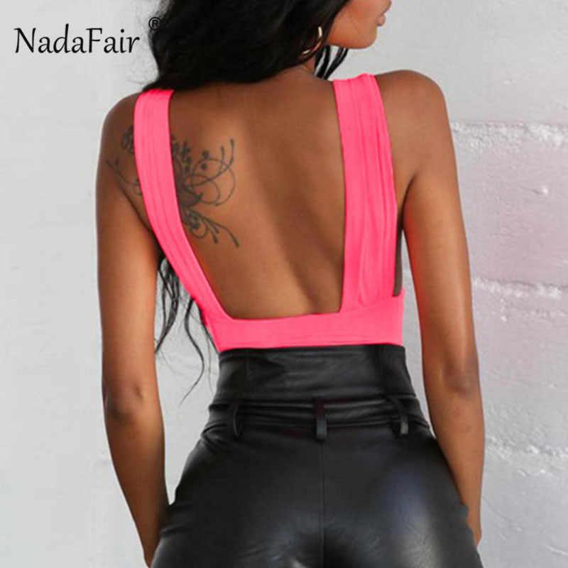 Nadafair, без рукавов, v-образный вырез, сексуальный комбинезон, с рюшами, с открытой спиной, женский комбинезон, лето 2019, черный, неоновый, зеленый, женский боди