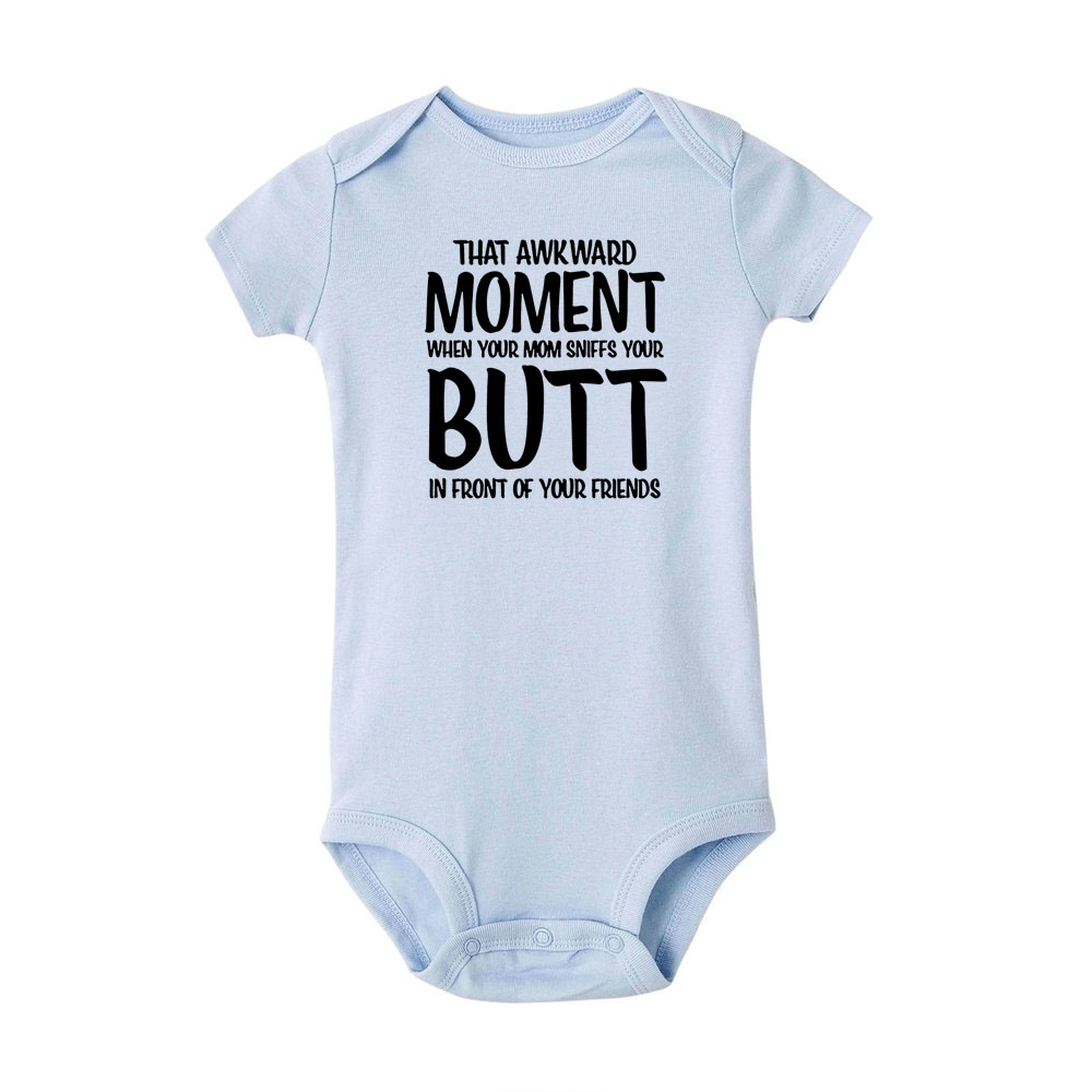 Awkward Moment Mom Smells Your Butt Cotton Baby Bodysuit One Piece
