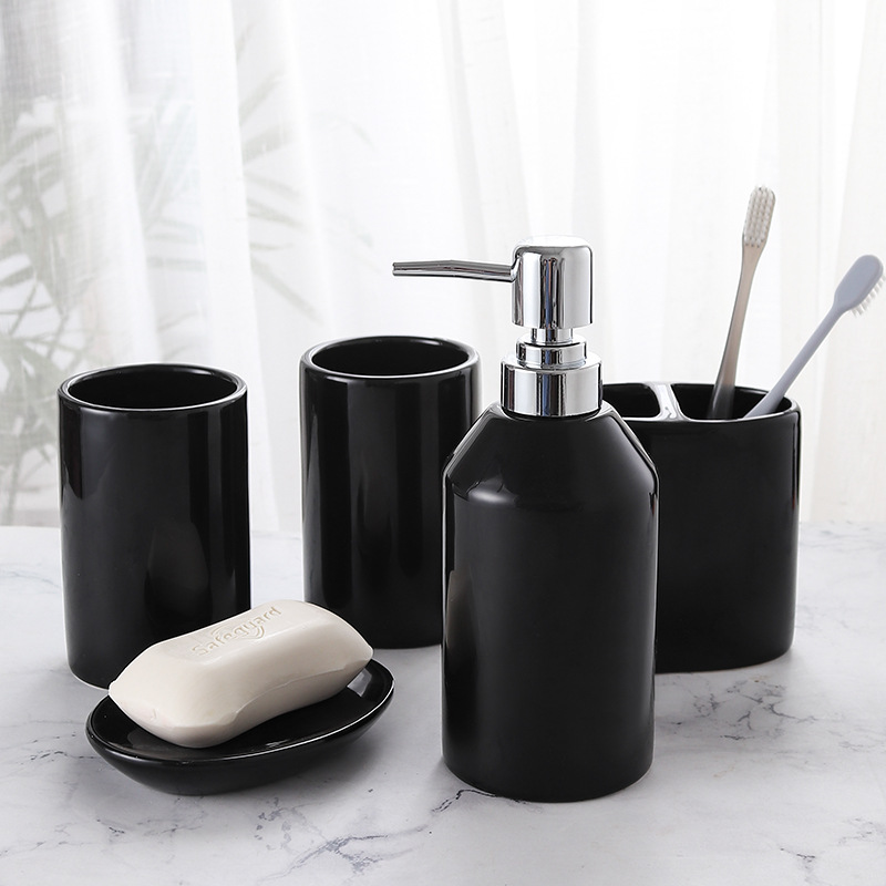 Wash Cup Set Mouth Cup Set Household Ceramic Bathroom Five piece Brushing Cup Bathroom Products Toothbrush Cup