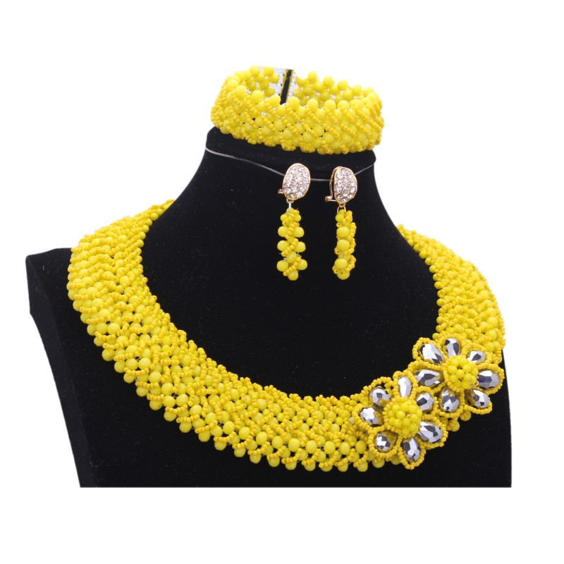 Yellow Necklace African Beads Jewelry Sets For Women Statement Flower Jewelry Nigerian Wedding Beads Bridal Necklace Flower 2018 cute women s beads flower bee pendant necklace