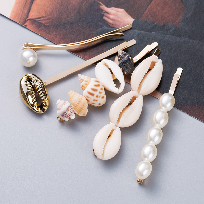 5PCS/Set Summer Beach Hair Jewelry Fashion Imitiation Pearl Shell Starfish Hairpins Hair Clips For Women Girls Hair Accessories