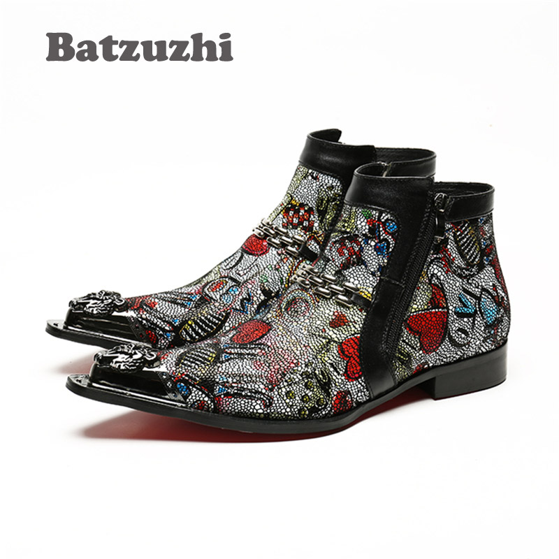 Batzuzhi Italian Style Handmade Men Boots Pointed Iron Toe Designer Short Leather Zipper High Help Mens Colorful